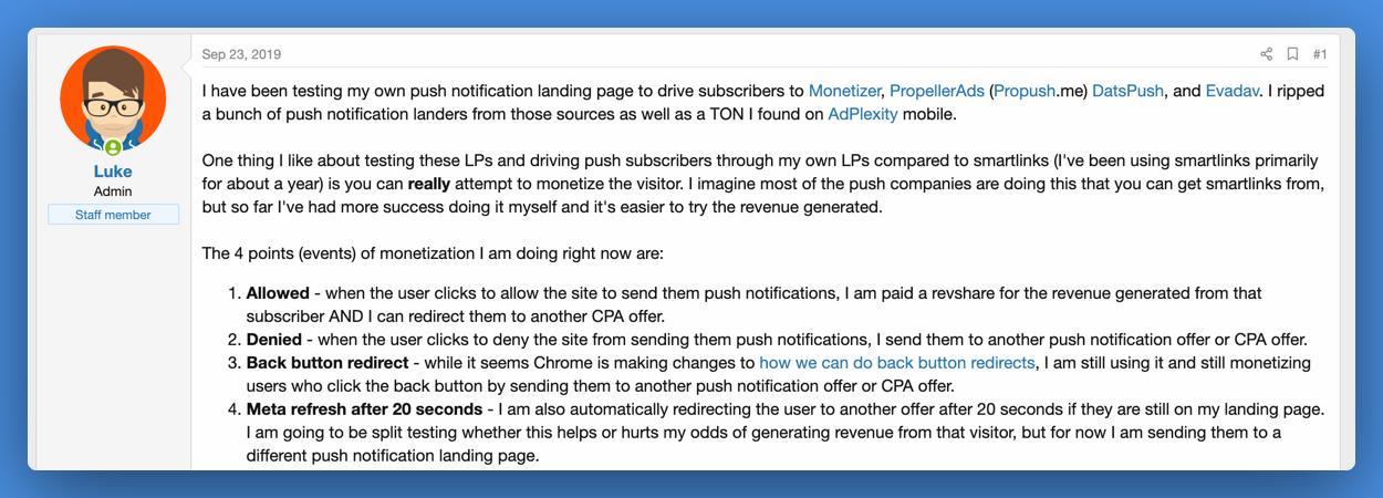 Push Notification Monetization