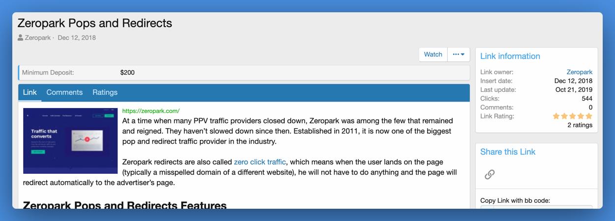 Zeropark Pops
